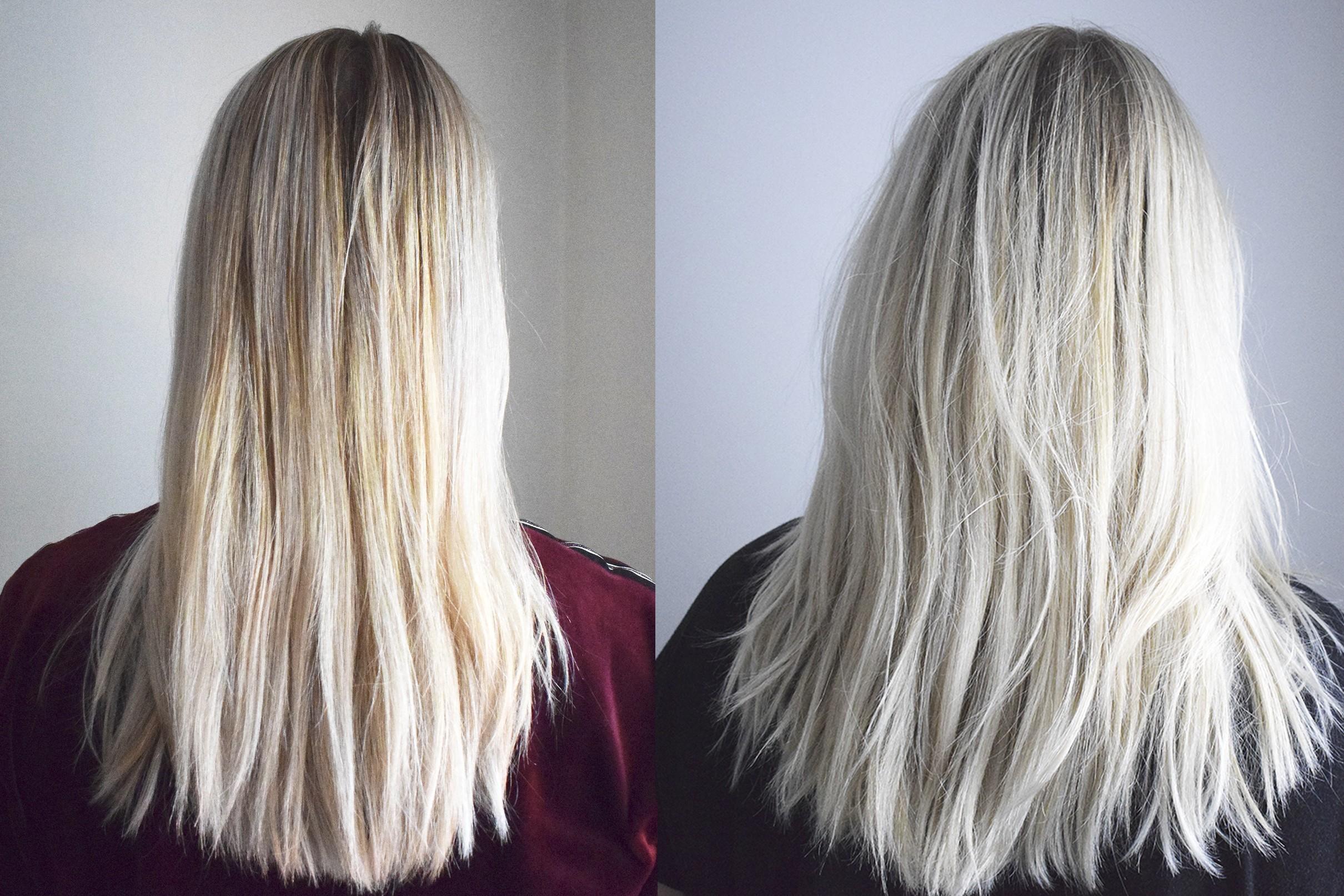 blond toning före efter