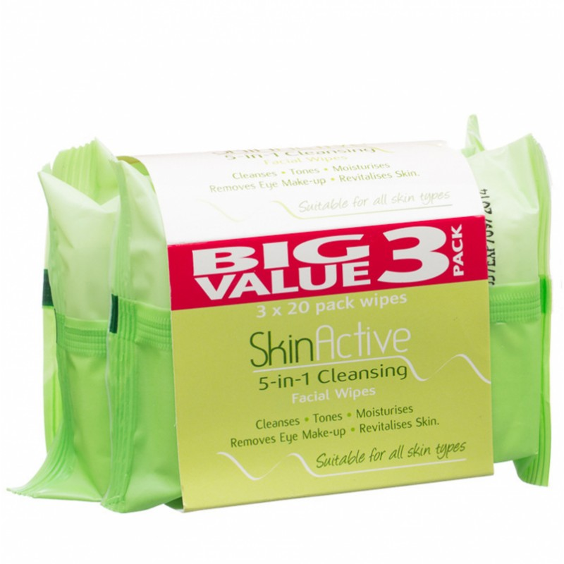 SkinActive 5in1 Cleansing Facial Wipes