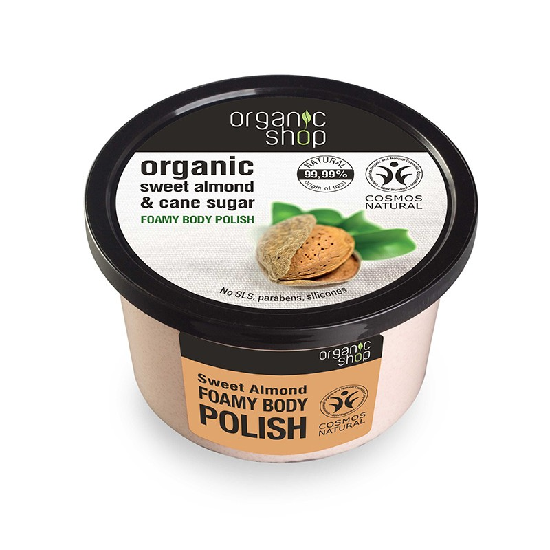 Organic Shop Organic Sweet Almond & Cane Sugar Foamy Body Polish