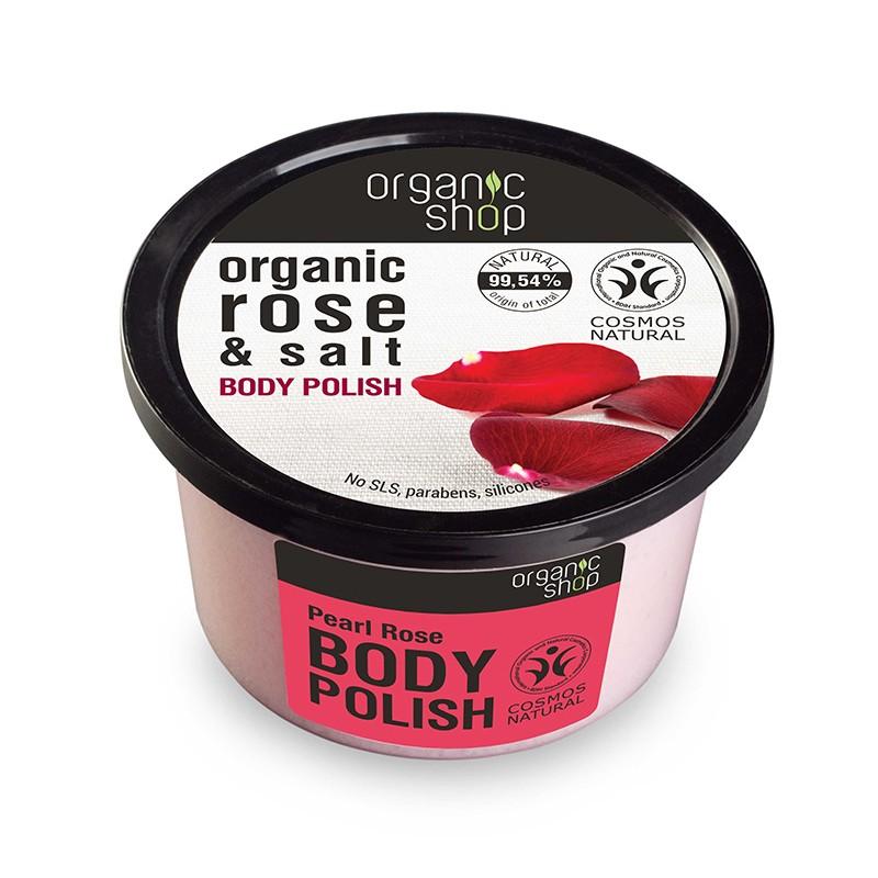Organic Shop Organic Pearl Rose & Salt Body Polish