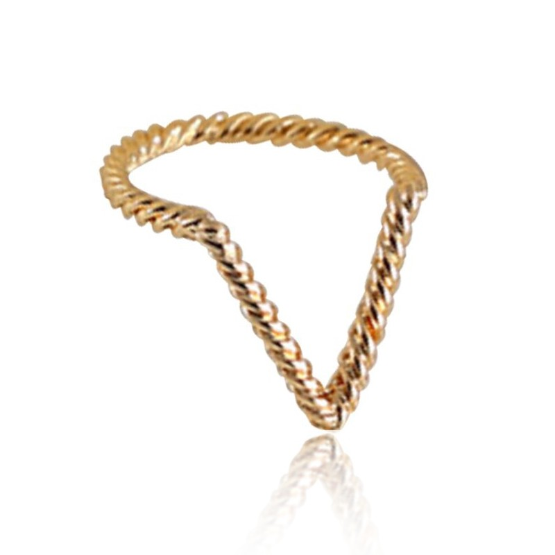 Everneed Hailey Twisted V Ring Gold