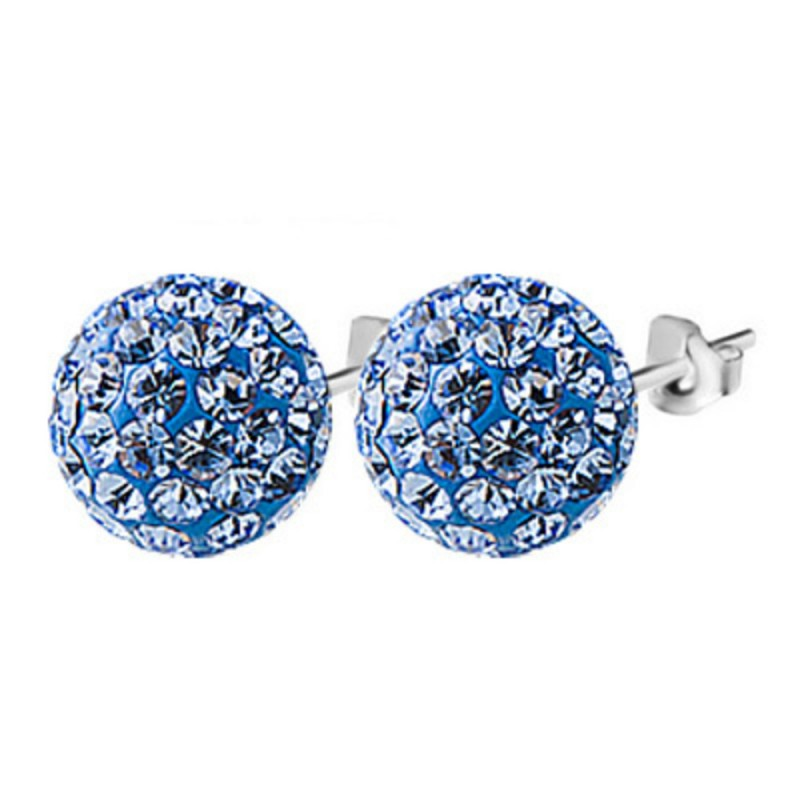 Everneed Glow Silver Earrings Blue Rhinestones