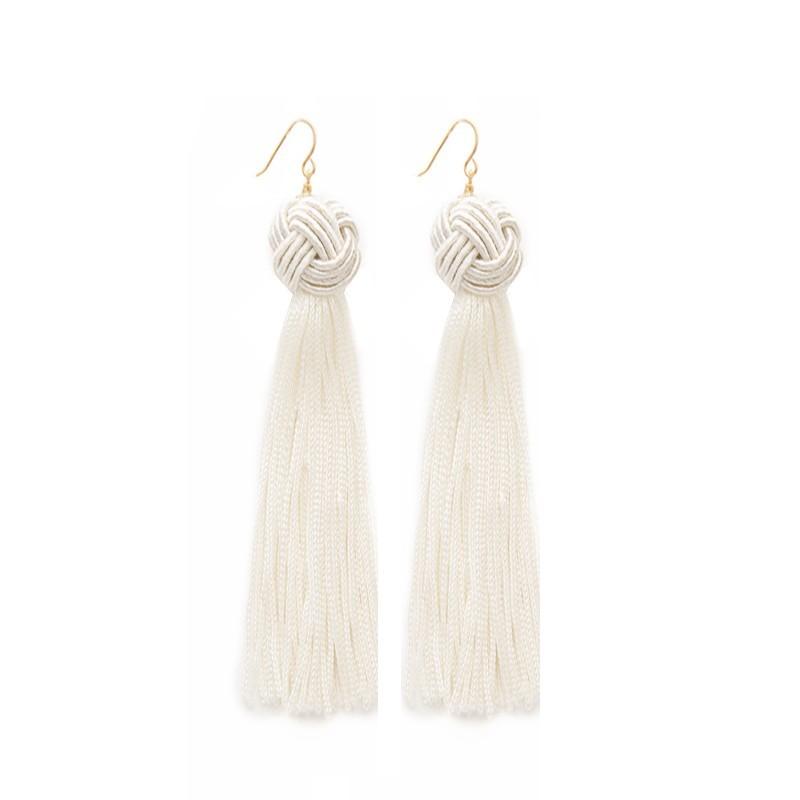 Everneed Maliva Tassel Earrings White