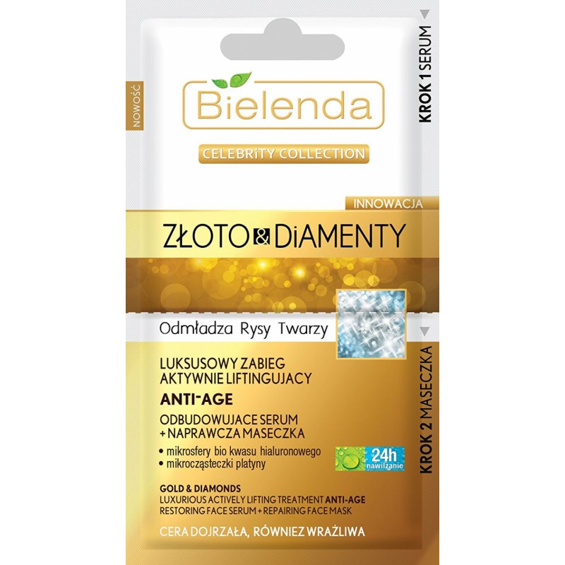 Bielenda Celebrity Gold & Diamonds Face Serum & Face Mask