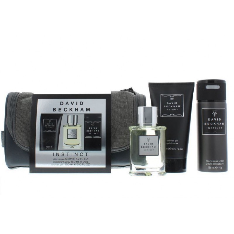 David Beckham Instinct Aftershave, Deospray, Shower Gel & Bag