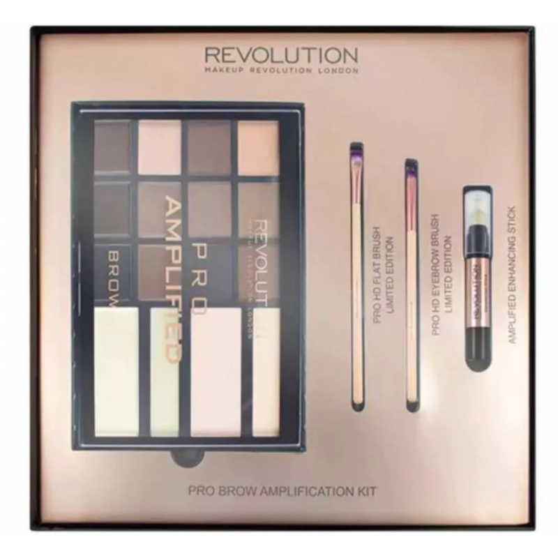 Revolution Makeup Pro Amplified Brow Palette & Brushes Gift Set