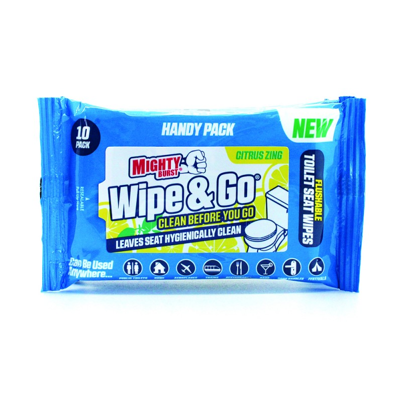 Mighty Burst Wipe & Go Toilet Seat Wipes