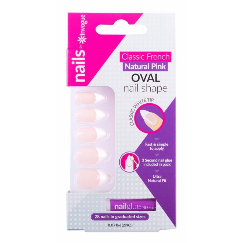 Invogue Classic French Oval Nails Natural Pink