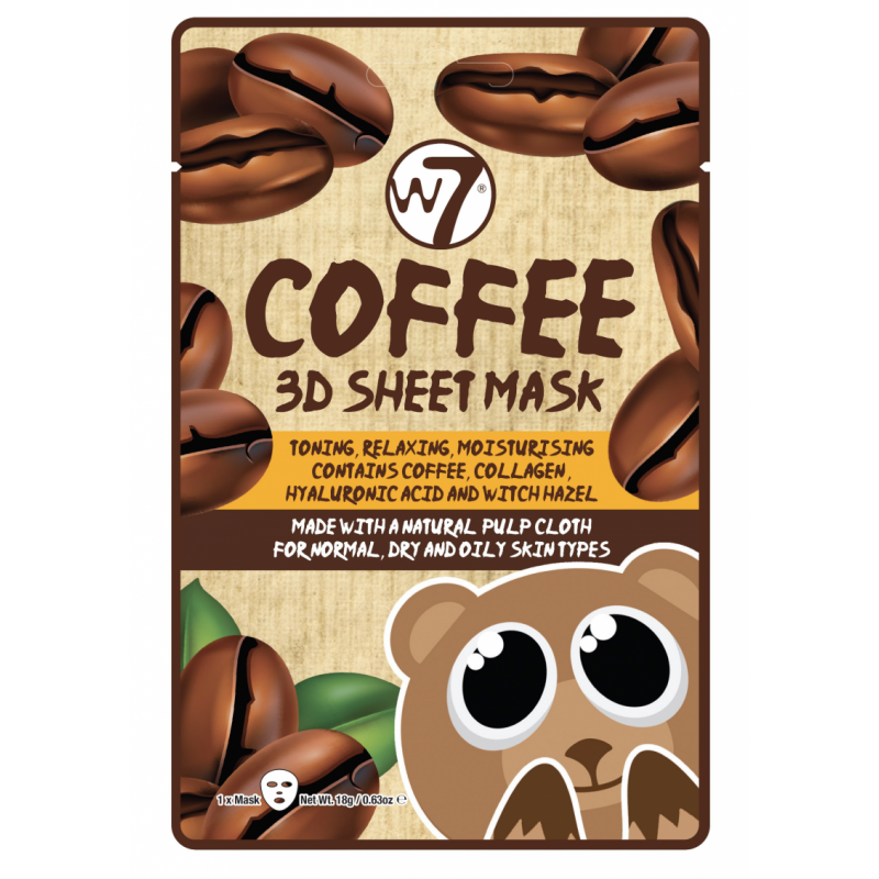 W7 3D Sheet Face Mask Coffee