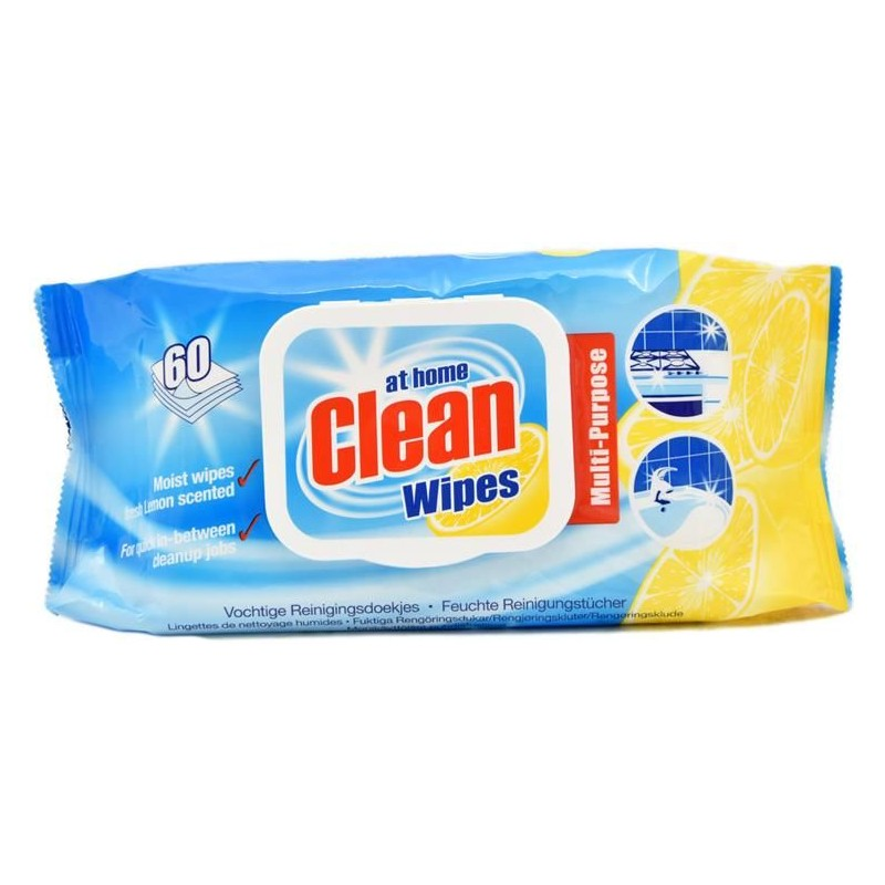 At Home Clean Multi-Purpose Cleaning Wipes Lemon
