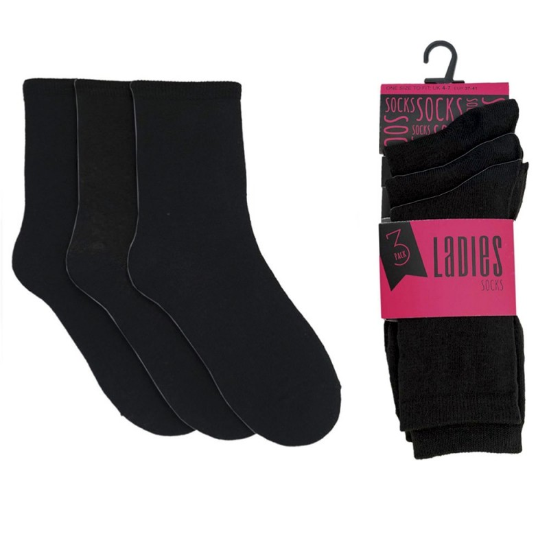 Socks 3-Pack Cotton Ladies Socks Black