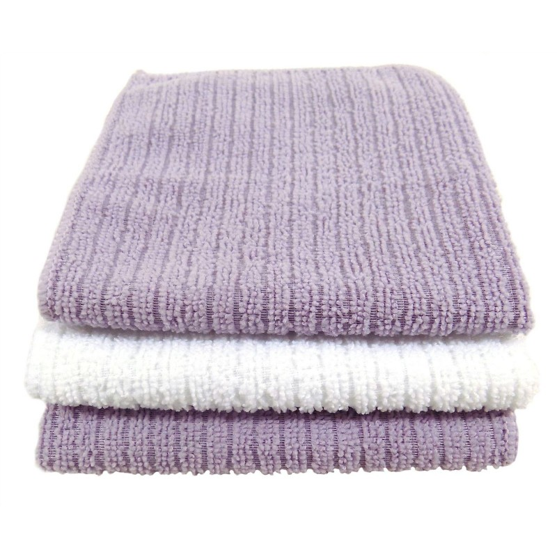 Country Club Super Soft Microfibre Face Cloths Lavender & White