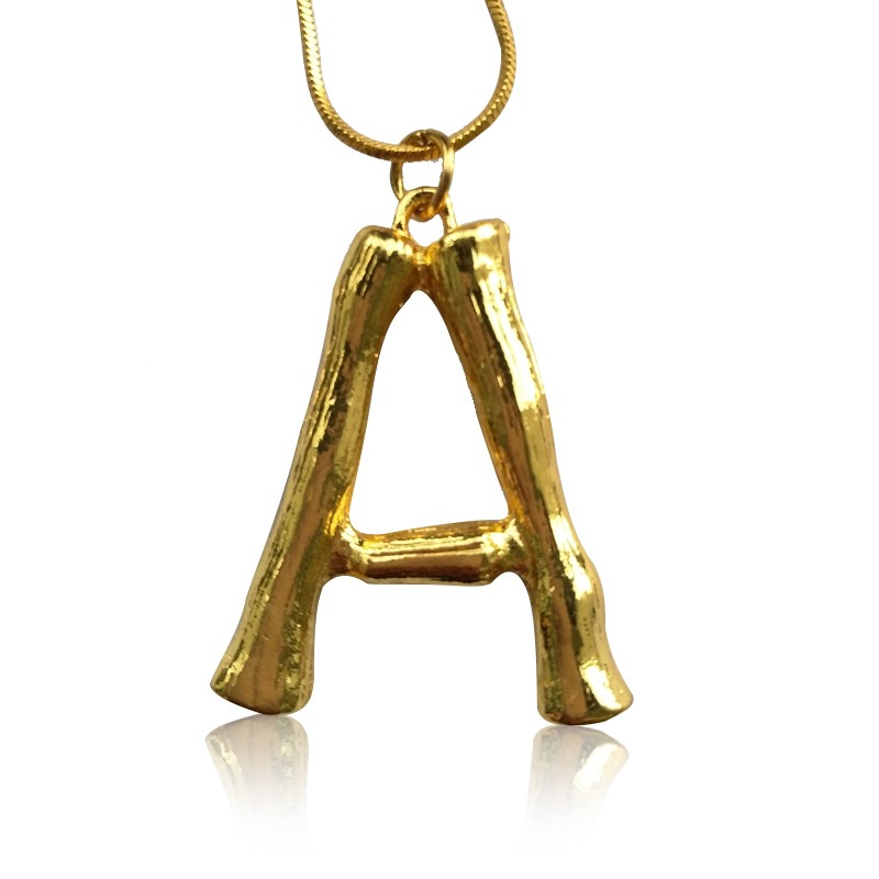 Everneed Gold Bamboo Letter Necklace A