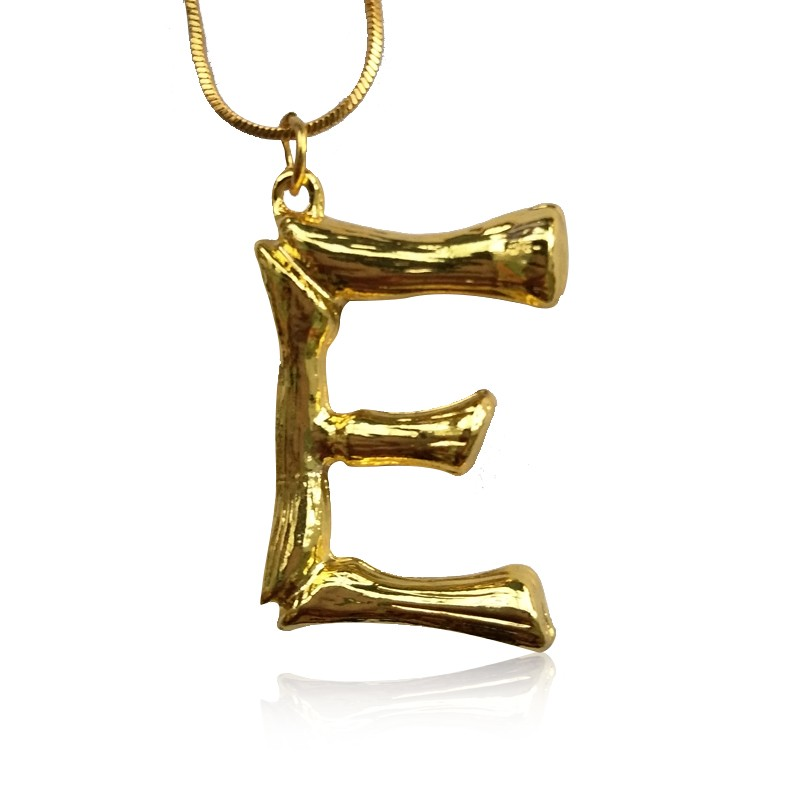 Everneed Gold Bamboo Letter Necklace E