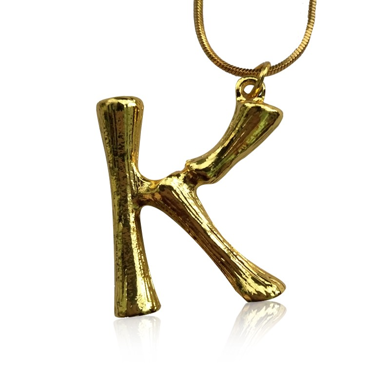 Everneed Gold Bamboo Letter Necklace K