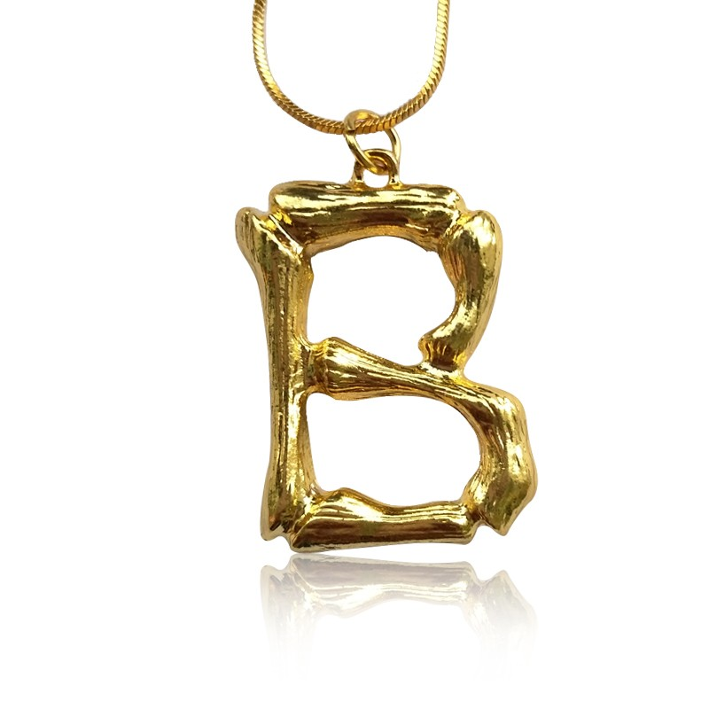 Everneed Gold Bamboo Letter Necklace B