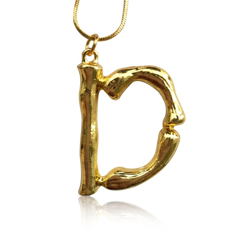 Everneed Gold Bamboo Letter Necklace D