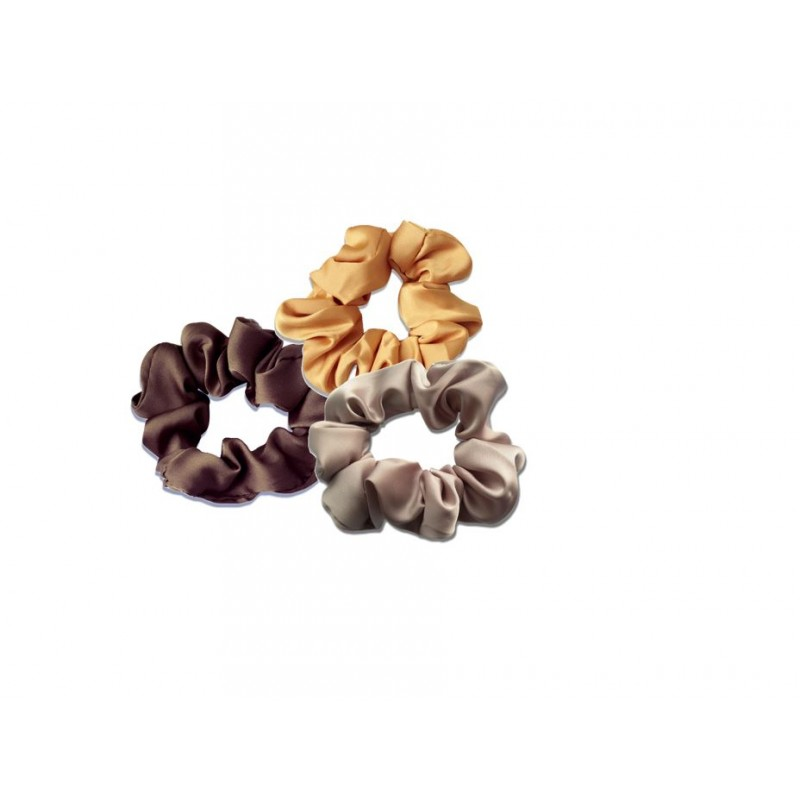 Everneed Scrunchie Trio Silk Gold, Soft Grey & Brown
