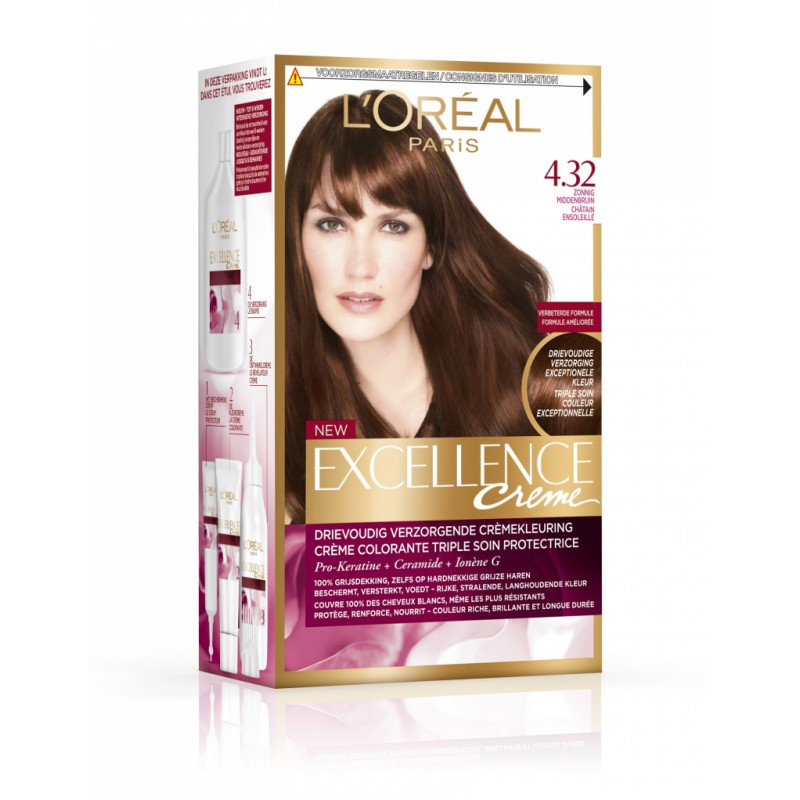 L'Oreal Excellence Creme Hair Color 4.32 Solar Dark Brown