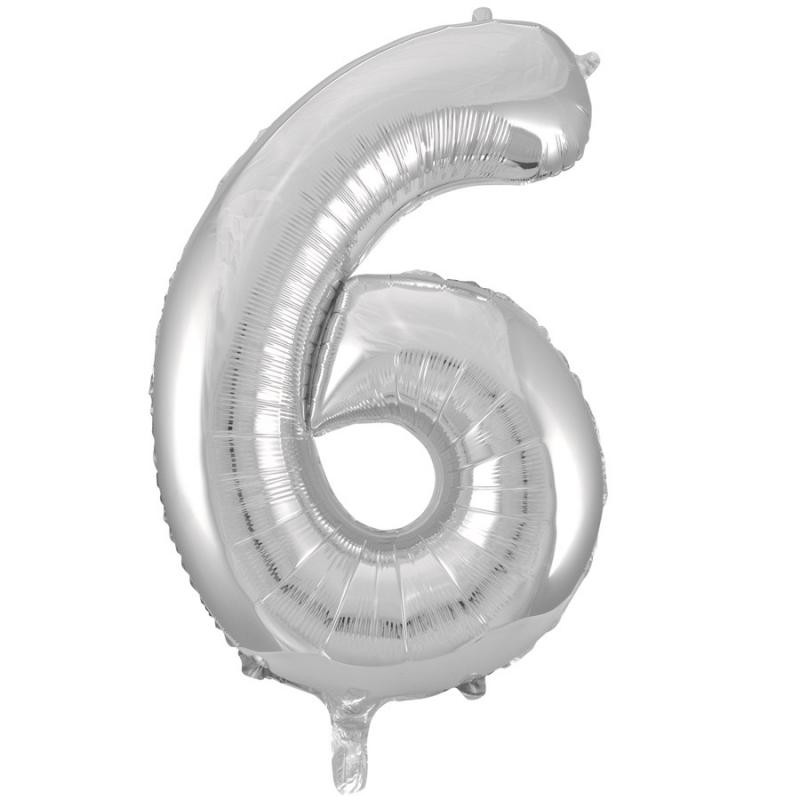 BasicsHome Foil Balloon Silver No. 6