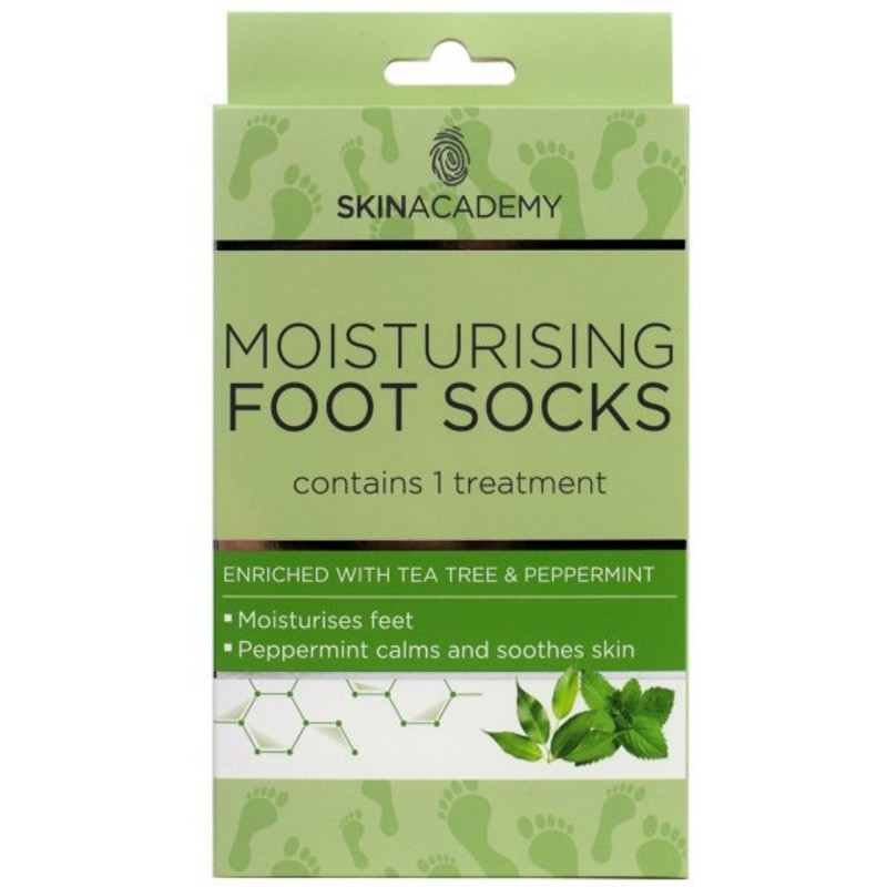 Skin Academy Moisturising Foot Socks Tea Tree & Peppermint