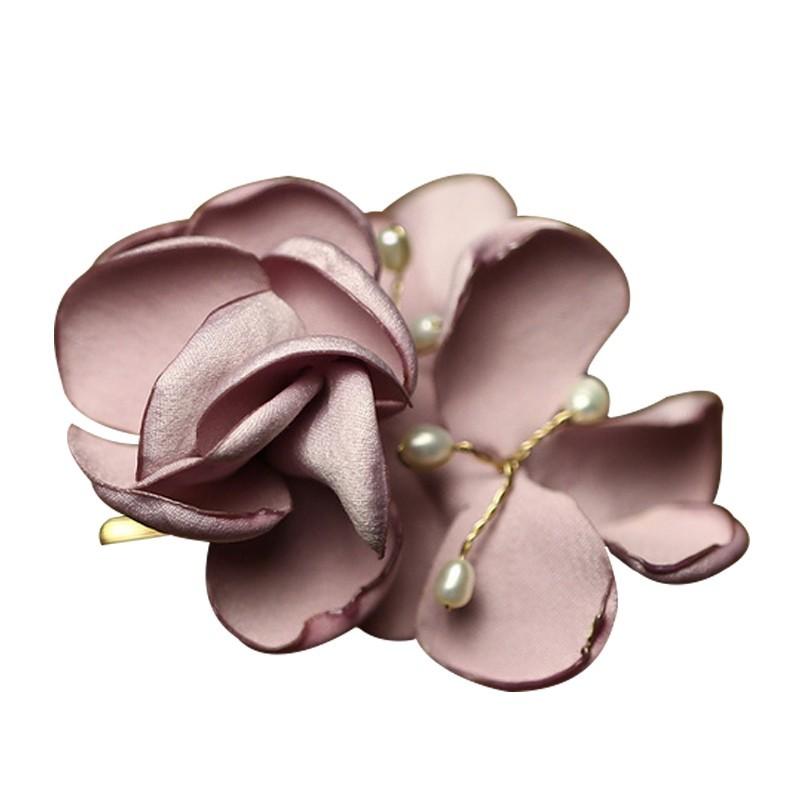 Everneed Lilje Stof Blomster Hårclip Rosa