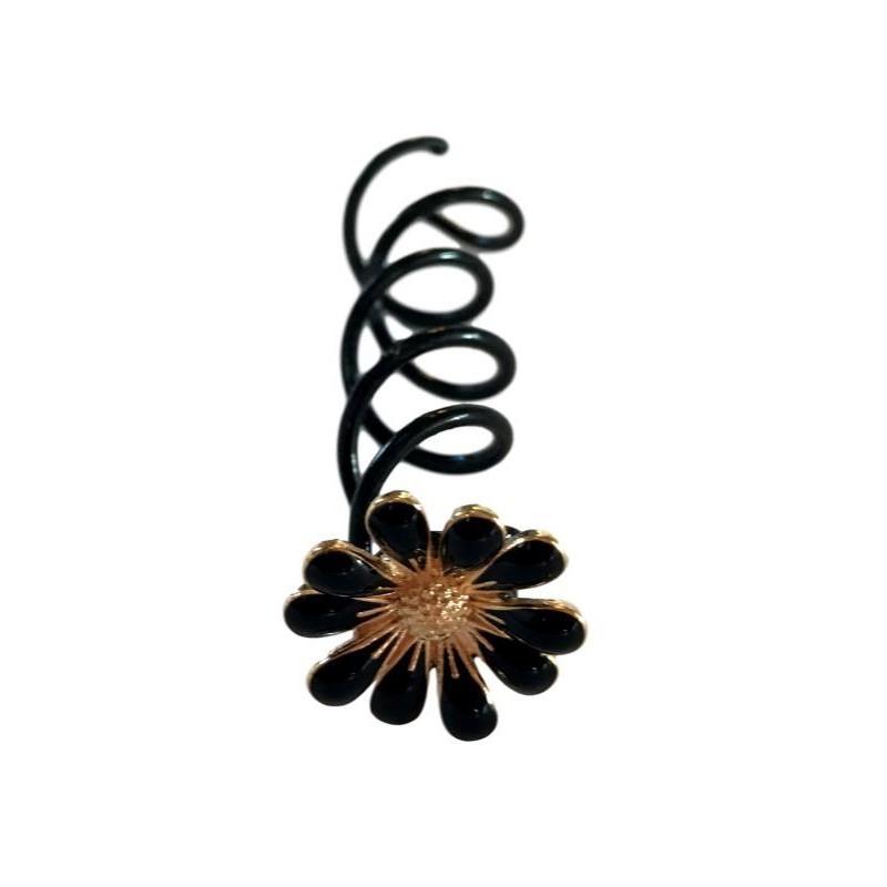 Everneed Nelly Hårspiral Med Sort Blomst 5 cm