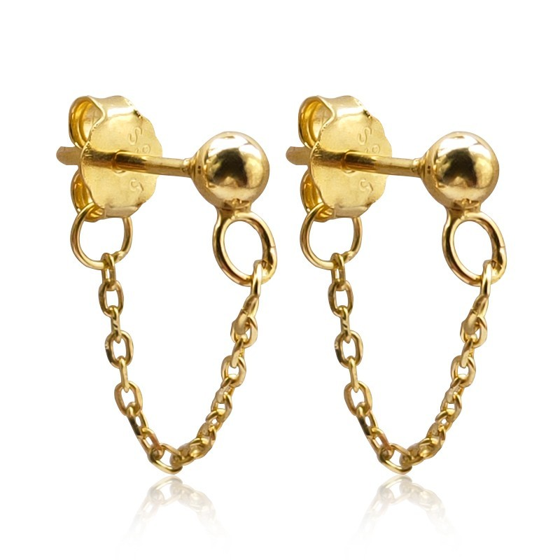 Everneed Everneed Saseline Chain Earrings Gold Finish 2 kpl