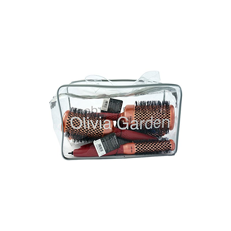 Olivia Garden Heat Pro Ceramic + Ion Brushes & Bag