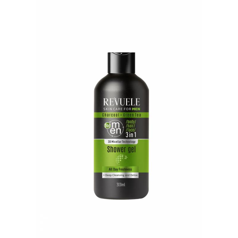 Revuele Men 3in1 Charcoal & Green Tea Shower Gel