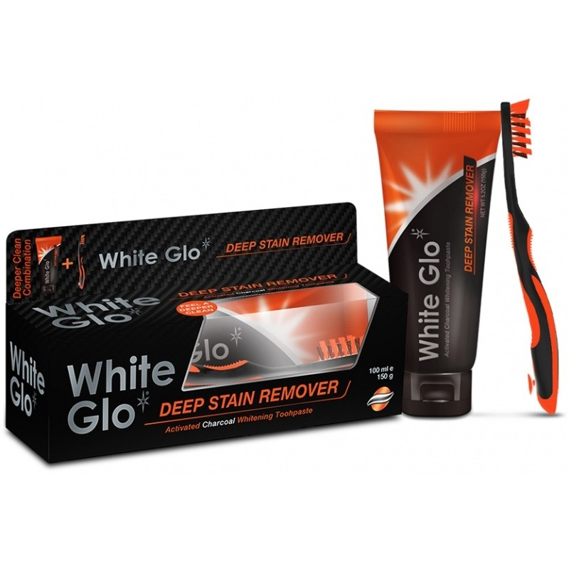 White Glo Charcoal Deep Stain Remover Toothpaste & Toothbrush