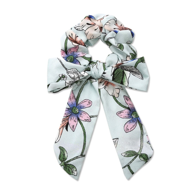 Everneed Trille Bow Scrunchie Blue Flowers