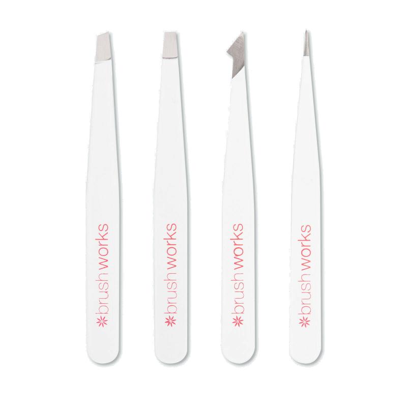 Brush Works Combination Tweezer Set White