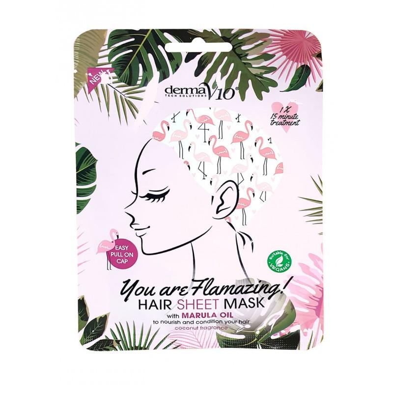 DermaV10 Hair Sheet Mask Marula Oil Flamingo