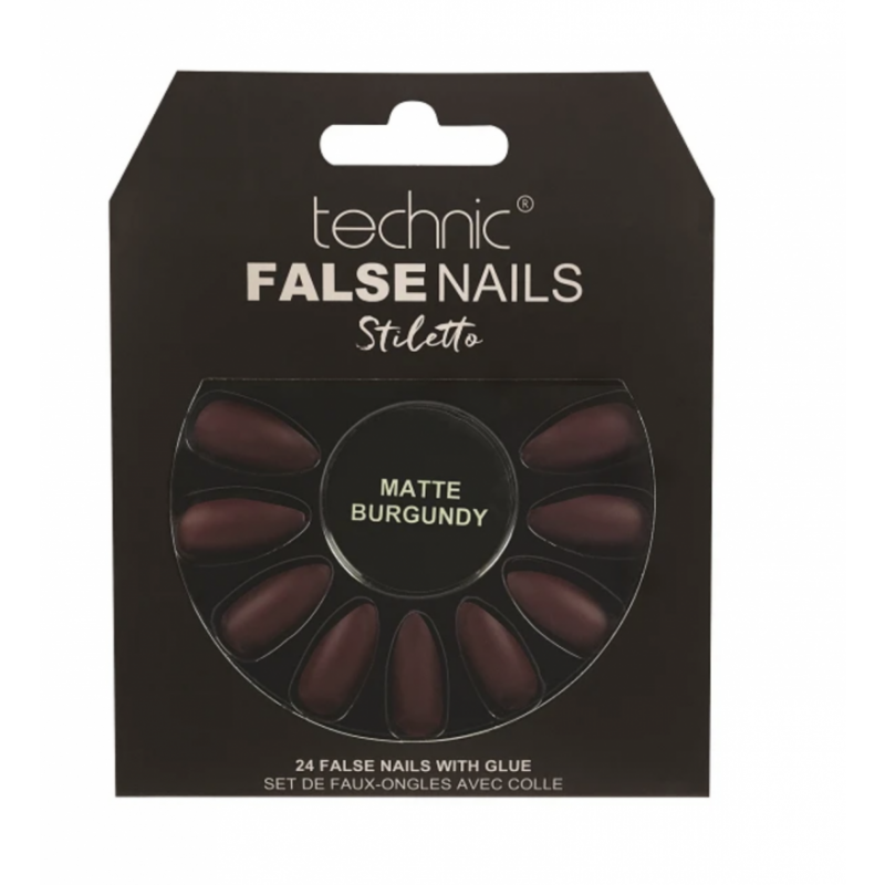 Technic False Nails Stiletto Matte Burgundy