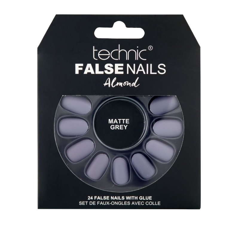 Technic False Nails Almond Matte Grey