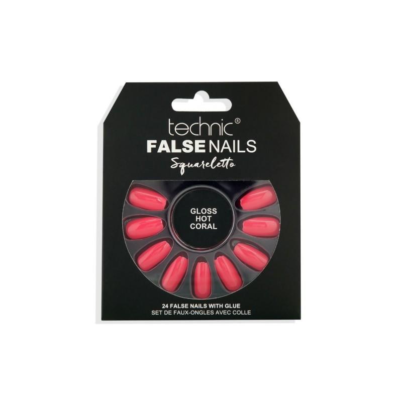 Technic False Nails Squareletto Gloss Hot Coral