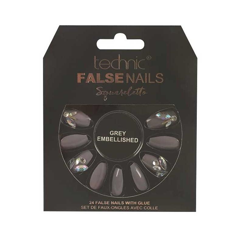 Technic False Nails Squareletto Grey Embellished