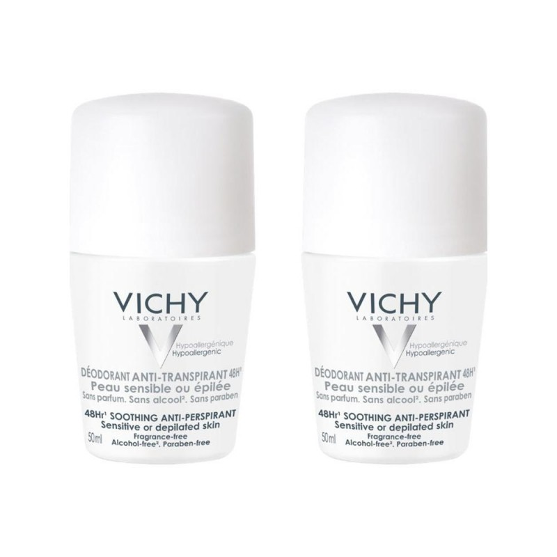 Vichy 48HR Soothing Anti-Perspirant Sensitive Deo Roll On Duo