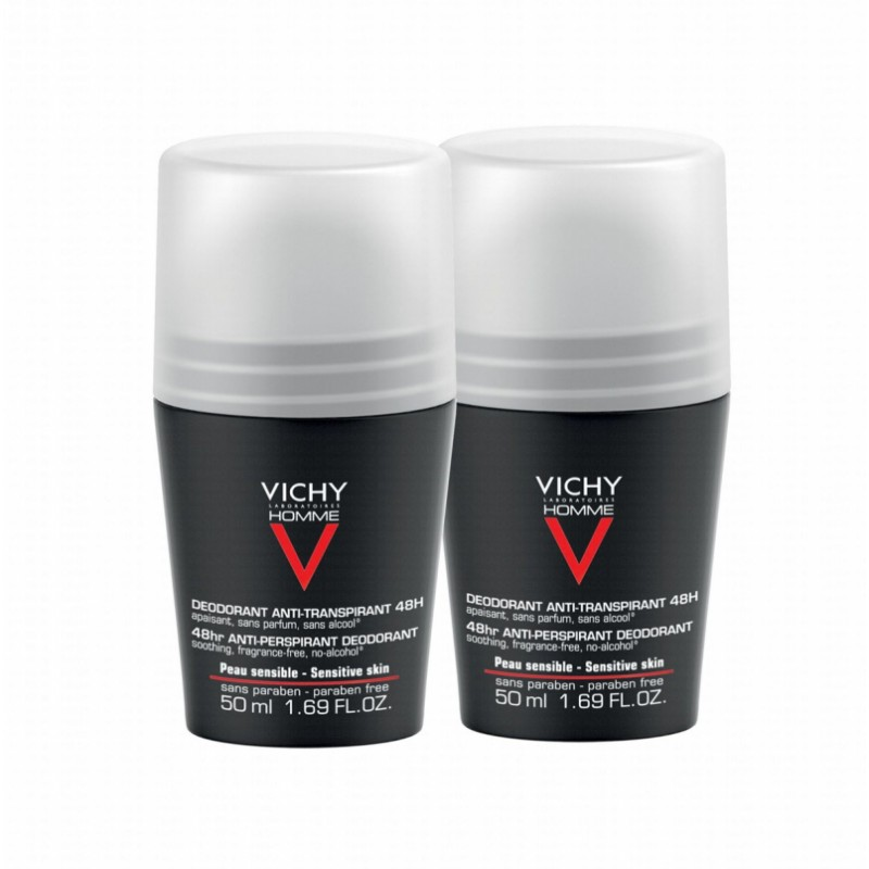Vichy Homme 48HR Anti-Perspirant Deo Roll On Duo
