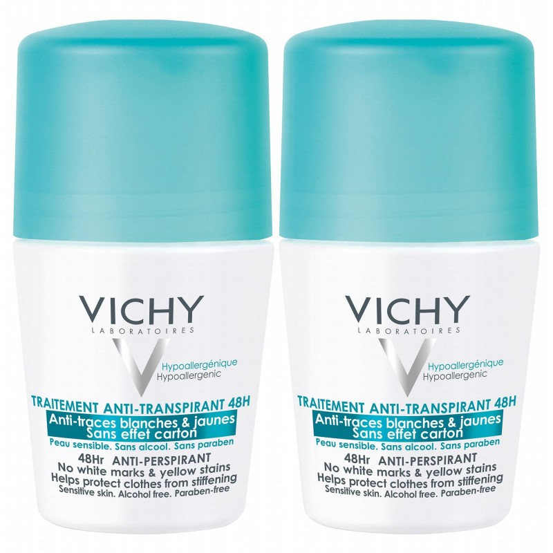 Vichy 48HR Anti-Perspirant No White Marks Deo Roll On Duo
