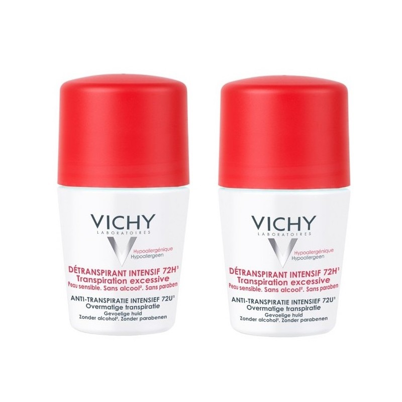 Vichy 72HR Anti-Perspirant Overnight Treatment Deo Roll On Duo