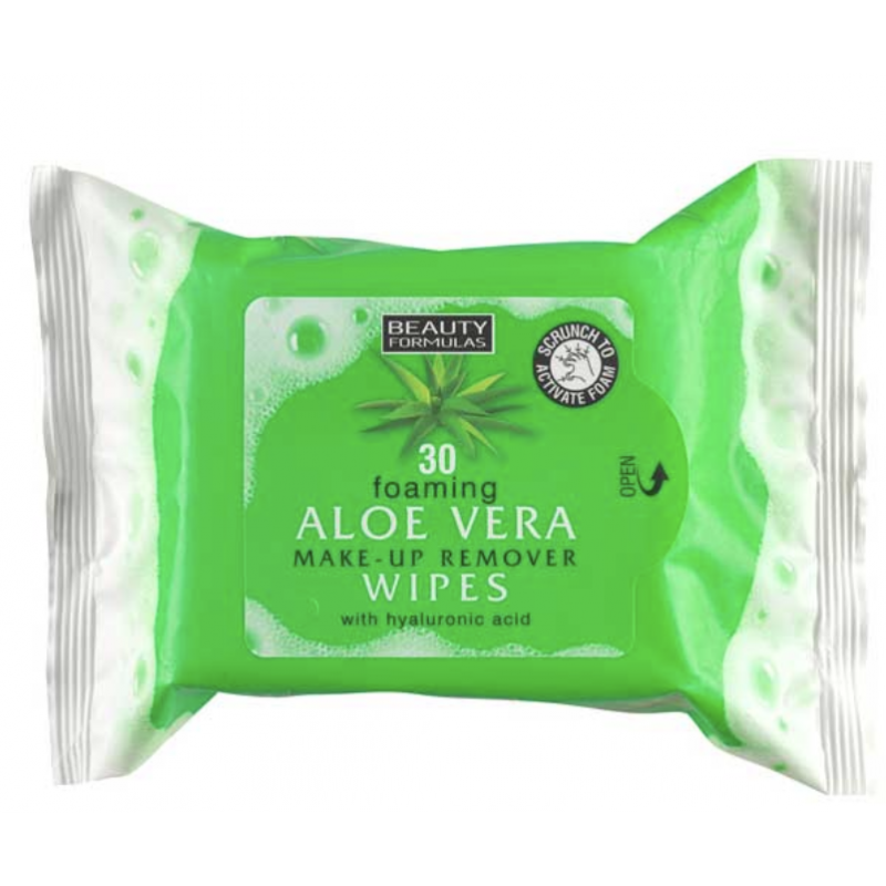 Beauty Formulas Foaming Aloe Vera Make-Up Remover Wipes