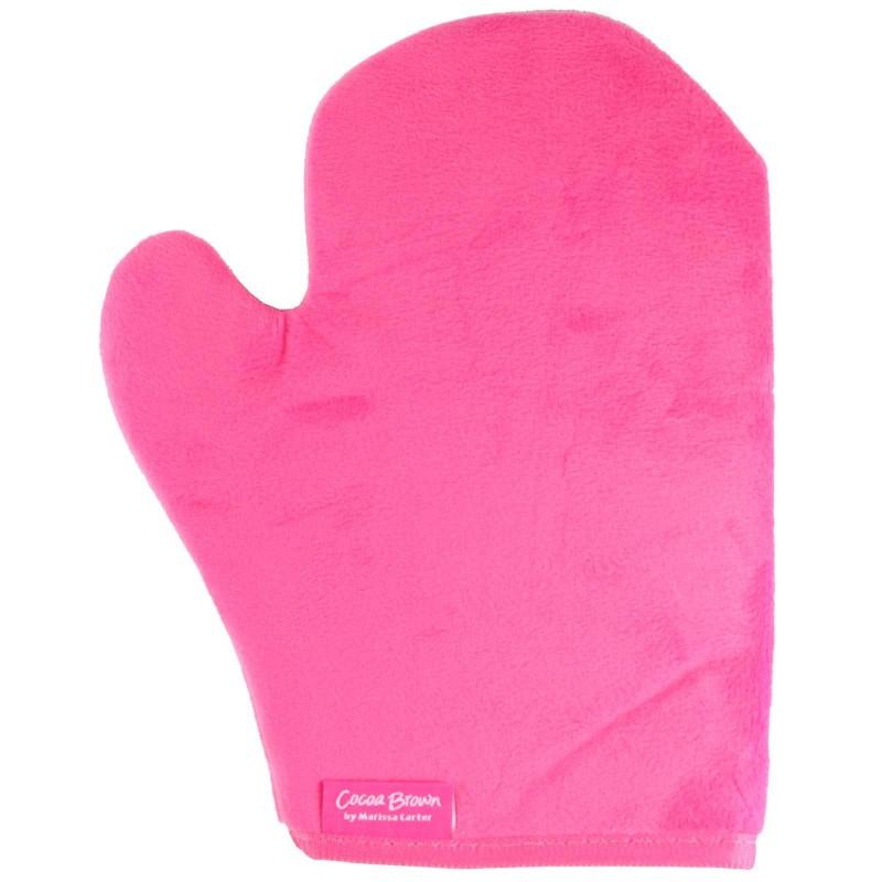 Cocoa Brown Velvet Tanning Thumb Mitt Pink