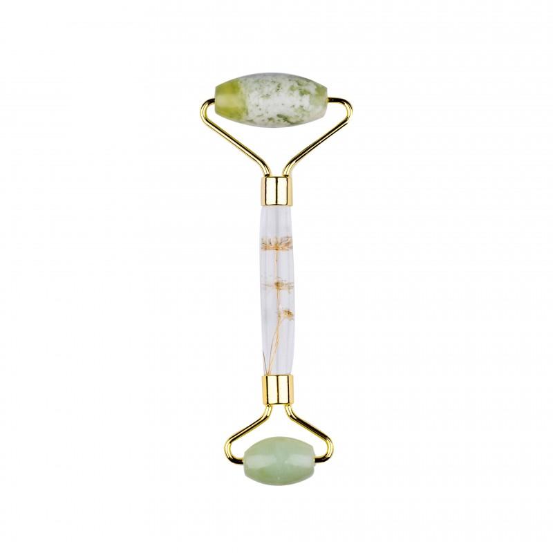 Basics Light Green Jade Facial Roller Flower Handle