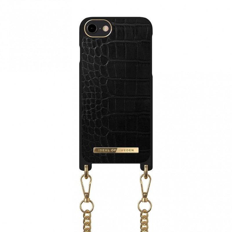 iDeal Of Sweden Phone Necklace Case iPhone 6/6S/7/8/SE Jet Black Croco
