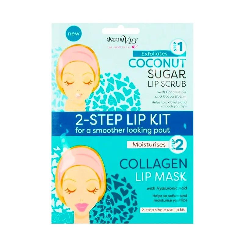 DermaV10 2-Step Lip Kit Scrub & Mask Coconut