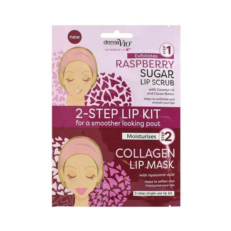 DermaV10 2-Step Lip Kit Scrub & Mask Raspberry