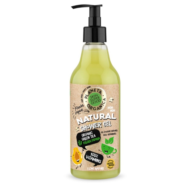 Planeta Organica Natural Organic Green Tea & Golden Papaya Shower Gel
