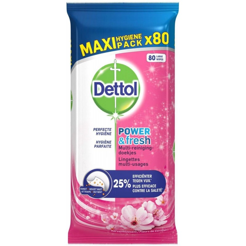 Dettol Power & Fresh Cherry Blossom Disinfectant Antibacterial Wipes Maxi Pack